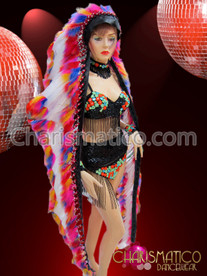 CHARISMATICO Diva Showgirl's Brightly colored rainbow and white Indian Warrior Headdress