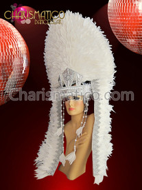White feather and Silver accented Aztec Indian inspired Diva headdress
