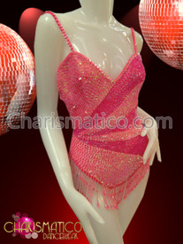 Pink Burlesque Leotard with sequins and Beads in a starburst pattern