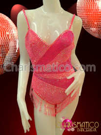 CHARISMATICO Pink Burlesque Leotard With Sequins And Beads In A Starburst Pattern