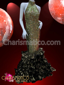 Mock neck Bronze sequin gown with Brown satin ruffle skirt