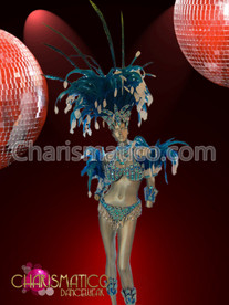 Jester inspired Blue beaded Carnival Costume set with white accents