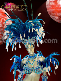CHARISMATICO Jester Inspired Blue Beaded Carnival Costume Set With White Accents