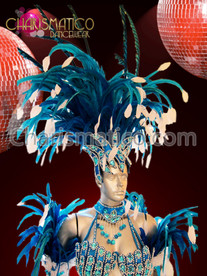 Jester Inspired Blue beaded carnival headdress with white accented feathers