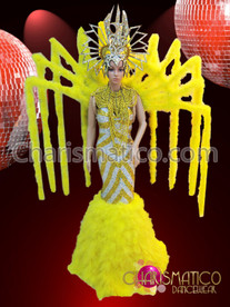 Yellow and Silver Pageant gown, backpack, and headdress costume set