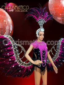Fuchsia and Black feather accented three piece Diva's costume set