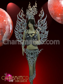 Silver Glitter and Crystal Backpack, belt, Headdress and accessories Costume
