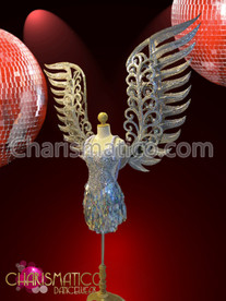 Larger silver glitter Angel wings and silver sequin dance Mini-dress