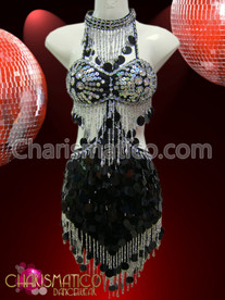 CHARISMATICO Silver Bead Accented Black Jumbo Sequin Sexy Latin Dance Dress