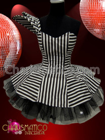 One shoulder Black and white stripe Gothic ruffle Dollie dress