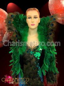 CHARISMATICO Rich Green and Peacock feather accented waist length Diva's Jacket