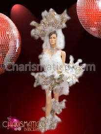 "Diva Showgirl's burlesque Downy White and metallic ""snow"" costume set"