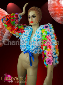 CHARISMATICO Rainbow Striped Three Quarter Sleeve Blue Flower Short Diva Jacket