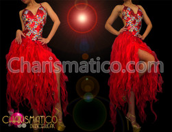 CHARISMATICO Crystal and bead accented red organza flame ruffled Diva dress
