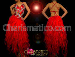 Crystal and bead accented red organza flame ruffled Diva dress