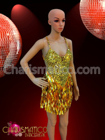 Swirl patterned gold sequin Dance dress with diamond sequin fringe