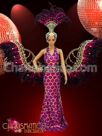 Honeycomb pattern Fuchsia pageant gown with matching wing and headdress