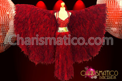Exotic red feather wing-cape with matching sequin and feather gown
