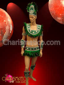 Male Green Brazilian Indian Feather costume with iridescent crystal accents