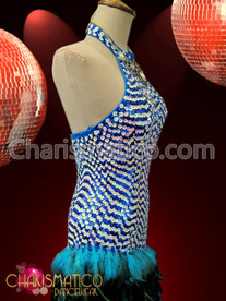 CHARISMATICO Sky Blue High Neck Sequin Gown With Asymmetrical Feather Skirt
