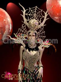"CHARISMATICO Silver Glitter Spiderweb Disco Headdress And Rainbow Feather €Œbranch"" Collar"