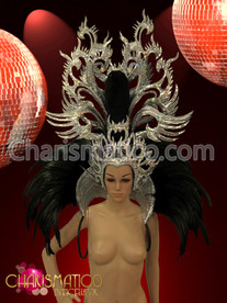 CHARISMATICO Glitter Silver Dragon headdress and black feather high collar backpack