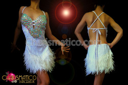 White sequin Latin Dance dress with Iridescent Crystals and feathers