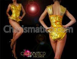 Iridescent gold sequined Lady Gaga Leotard with metallic gold accents