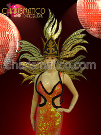 Drag Queen Glittery Gold Black  Headdress And Wings