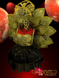 Gold Glitter Floral Diva's Flower Backpack with matching Headdress