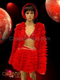 Drag Queen Ruffled red jacket and matching pearl accented tier skirt set