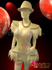GAGA Iridescent white sequined Hat and feather accented dance Shorts