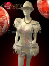 CHARISMATICO Gaga Iridescent White Sequined Hat And Feather Accented Dance Dress Shorts