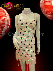 Showgirl's White scale patterned sequin dance dress with black teardrop accents