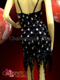 Showgirl's Black scale patterned sequin dance dress with chrystal teardrop accents