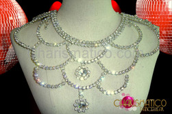 Scale motif crystal rhinestone diva necklace with large teardrop center