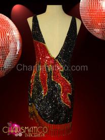 Fringe hemmed Black sequin dance dress with red flame pattern