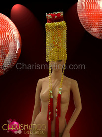 CHARISMATICO Gold Beaded Chinese Styled Diva'S Headdress With Red Glitter And Crystals