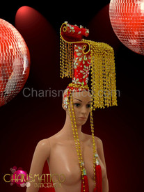 Gold beaded Chinese styled Diva's headdress with red glitter and crystals