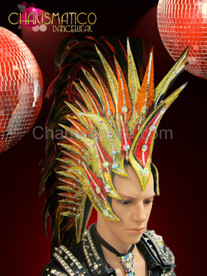 CHARISMATICO Diva Drag Queen Golden glitter Mohawk inspired Red feather headdress