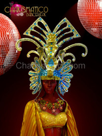 Golden Light Blue Egyptian Pharaoh style Diva Drag Queen Headdress
