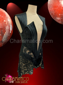 CHARISMATICO Beyonce Super Bowl Black Leather Stunner Metallic Vinyl Black Lace Dress