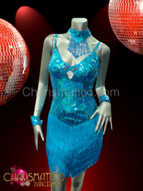showgirl's Latin styled Sky blue sequined fringe skirt Dance dress