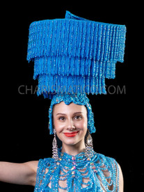 Blue Fringe Spiral Lampshade Burlesque Diva'S Headdress