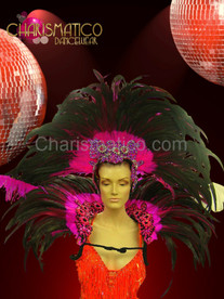 Fuchsia, black, and white classic showgirl's backpack with matching headdress