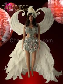 White Angel  Snow Queen Ostrich train costume + Victoria Secret wing  set