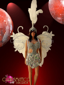 Silver ANGEL dress, white Ostrich headdress, and adorned wing backpack
