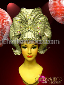 Silver beehive Retro headdress accented with mirror tiles and crystal