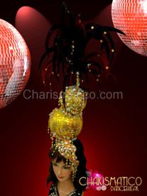 Gold stack Disco Ball Headdress dripping with crystals and red feathers