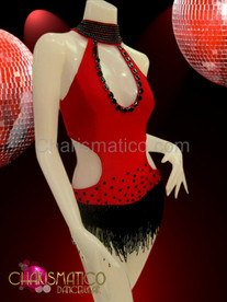 High neck beaded keyhole cutout red and black fringed leotard